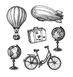 vintage travel set vector image