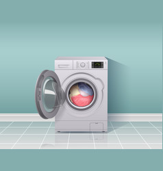 Washing machine realistic composition vector