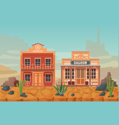 wild west western scenery with building vector image