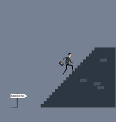 Businessman with case going upstairs vector