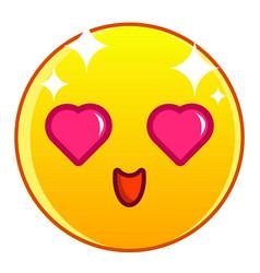 enamored yellow emoticon icon cartoon style vector image vector image