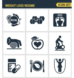 Icons set premium quality of weight loss regime vector image