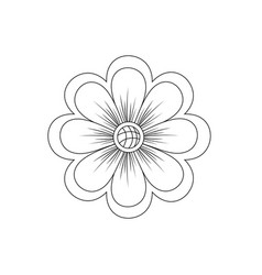 line natural flower plant with petals vector image vector image