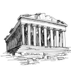 greece parthenon sketch vector image