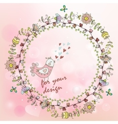 hand painted background with floral wreath and vector image