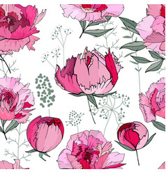 Seamless floral decorative pattern with red and vector