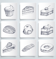 Sketch cake icons vector image vector image