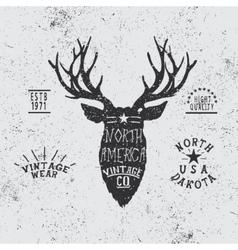 Vintage label with deer head vector
