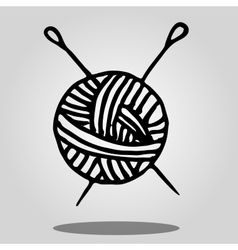 ball of yarn and knitting needles vector image