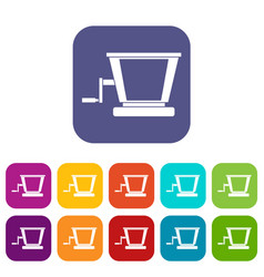 Old grape juicer icons set flat vector