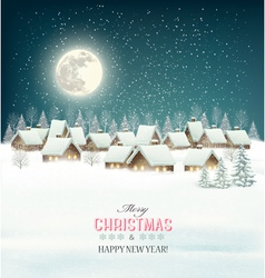 Winter village night background vector image vector image