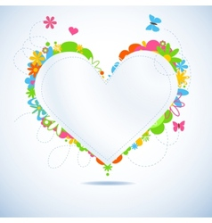 colorful floral paper heart vector image vector image