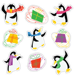 dancing xmas penguins in a bright scarves and vector image vector image