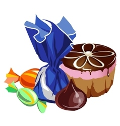 Delicious chocolate cake and different sweets vector image vector image