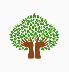 green human hand tree symbol for community help vector image