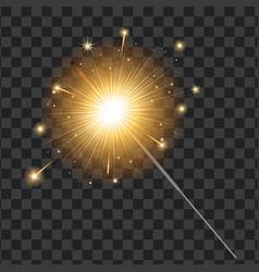 realistic sparkler transparent background vector image vector image