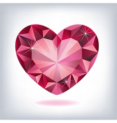 ruby heart-shaped vector image