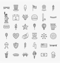 4 july line icons set vector image