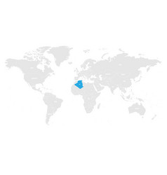 Algeria marked blue in grey world political map vector