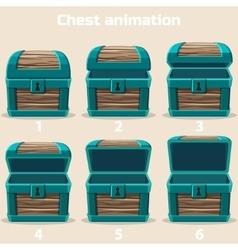 Animation wood Treasure chest vector