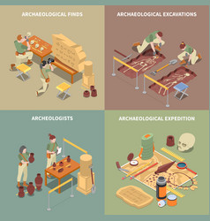 Archeology isometric concept icons set vector