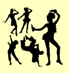 Attraction dancing male and female silhouette vector