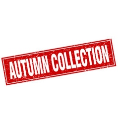 Autumn collection red square grunge stamp on white vector
