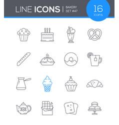 bakery - modern line design style icon set vector image