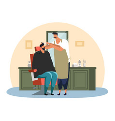 Barber man shaving or making haircut for client vector
