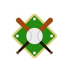 Baseball bats and ball on baseball field icon vector image