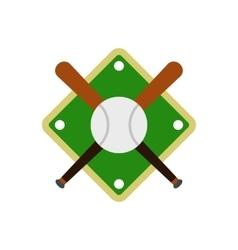 baseball bats and ball on field icon vector image