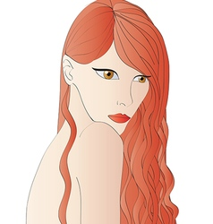 Beautiful red hair woman vector image