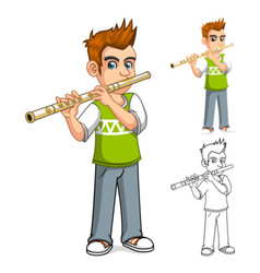 Boy Playing Flute Cartoon Character vector