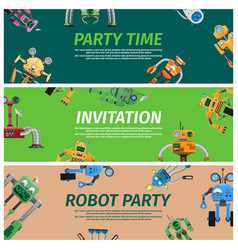 Bright invitation to robot party time vector