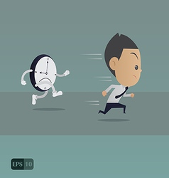 Businessman running with the time vector image