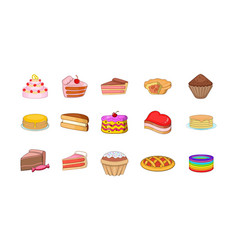 cake icon set cartoon style vector image
