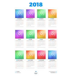 Calendar poster template for 2018 year week vector