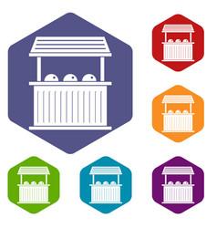 Carnival fair booth icons set hexagon vector
