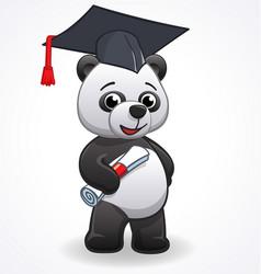 Cartoon panda graduating vector
