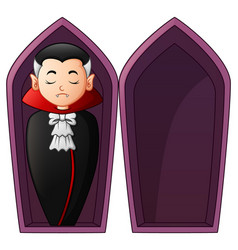 Cartoon vampire in open coffins vector