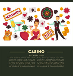 casino club and gambling roulette and poker game vector image