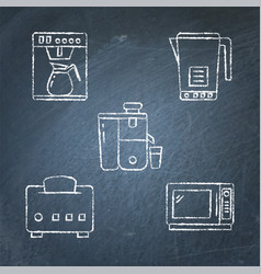 chalkboard kitchen smart gadgets icon collection vector image