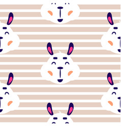 cheerful lama baby beige striped seamless vector image