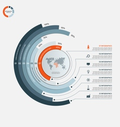 Circle infographic template with 7 options vector