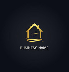 Clean house shine company gold logo vector