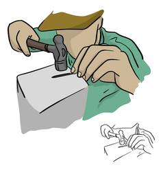 close-up man using a hammer to make the nail vector image
