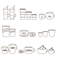 Coffee cups and mugs sizes variations outline vector