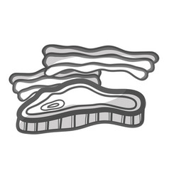 contour meat and bacon fast food icon vector image