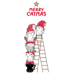cute cat friends group stack christmas tree vector image