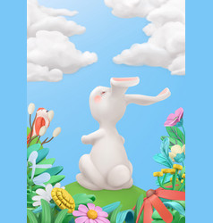 Easter bunny in meadow spring story 3d vector